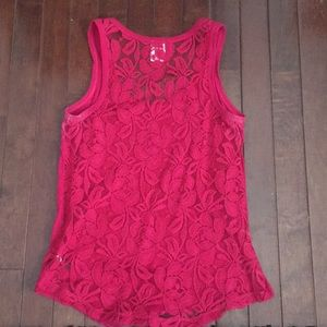 Express cotton tank with lace back